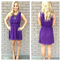 Purple Opalescent Bead Chiffon Dress