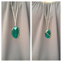 Emerald Pendant Stone Long Necklace
