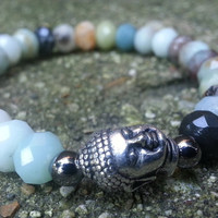 Amazonite Buddha Bracelet (9) Organic/Stretch Bracelet /Buddah/Beaded /Amazonite/One Of A Kind/Made To Order