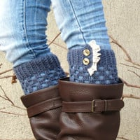 Knitted Leg Warmers Ruffle Trim Button Up Boot Topper with Crochet Lace Trim Buttons for Stocking Stuffers in denim blue, Faux Leg Warmers