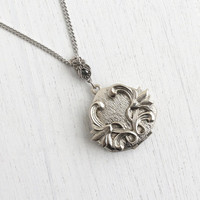 Vintage Flower Locket Necklace - Art Nouveau Style Silver Tone Pendant Heart Costume Jewelry / Flowing Floral
