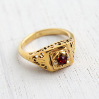 Vintage Filigree Red Glass Stone Ring - Retro Gold Electro Plate Vargas Size 5 Art Deco Style Vargas Jewelry / Open Swirled Metal