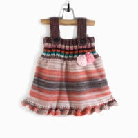 Knitted Girl Tunic Dress - Brown and Orange, 9 - 12 months