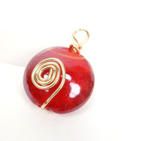 Wire Wrapped Pendant, Red Glass Bead Pendant
