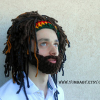 Beard Hat Rasta Hat Bearded Beanie Men's Beanie Beard Hat with Rasta Bandana and Dreadlocks Ski Hat Halloween Costume