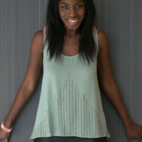 Mint & Peach Contrast Studded Top