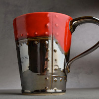 Sheet Metal Mug Made To Order Red and Chrome Sheet Metal Stoneware Mug by Symmetrical Pottery