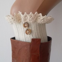 Ivory lace boot cuffs with lace and buttons boho boot socks lace cuffs women's accessory leg warmers back to school
