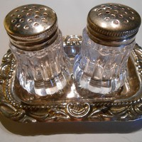 Mini Vintage  Salt and Pepper Shakers with Tray