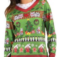 Womens Ladies Ugly Christmas Sweater Long Sleeve Tee