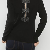 Bows Back Sweater, Black