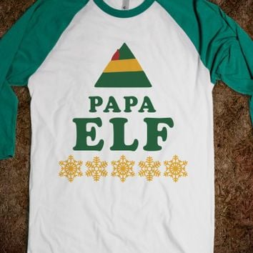 Papa Elf-Unisex White/Evergreen T-Shirt