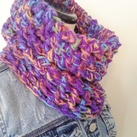 Purple Chunky Cowl Scarf - Plum Multi-colored Scarf - Fall Cowl - Autumn Thick Cowl