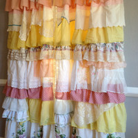 Shabby Vintage Rustic Chic Ruffled Curtain Panels, Window Treatment, Draperies - Anthropologie Boho - OOAK, Repurposed, Upcycled Textiles
