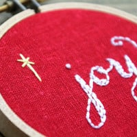 "joy embroidery hoop art christmas ornament red linen fabric hoop small 3"" circle letterhappy etsy"