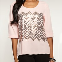 Sequined Chevron Tunic Top | Sequin & Shine | rue21
