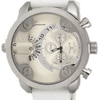 White Mens Geneva Watch Dual Time (Little Daddy Style) W/ Diesel Cologne