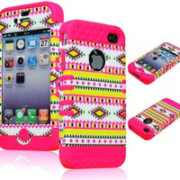 Bastex Hybrid 2in1 Rocker Case for Apple iPhone 4, 4s - Hot Pink Silicone with Hard Colorful Neon Tribal Design