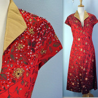 Vintage Asian Coat Dress Beaded Lined - small