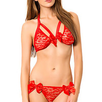 The Strappy Lace Midnight Set in Red