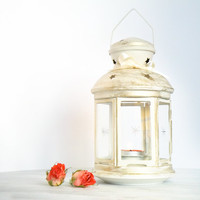 Customized Outdoor Lantern/ Shabby Cottage Chic Spring Decor/ Golden White Candle Holder/ Beach wedding lantern