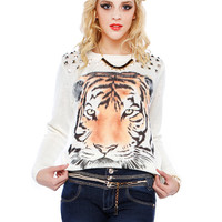 TIGER GRAPHIC SWEATER TOP