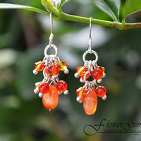 Drop Silver Earring Carnelian Gem Stone with Swarovski Crystal Bead Handmade by Flower GemStone