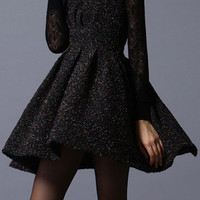 ROMWE | Romwe V-neck Sleeveless Tweed Pleated Black Dress, The Latest Street Fashion