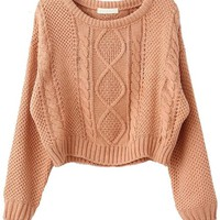 Pink Long Sleeve Cable Knit Pullover Sweater