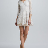 Tulle-Skirt Lace Dress