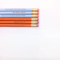 dumb and dumber 6 engraved pencils. back to school. How about a hug.