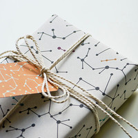 "Eco-friendly Wrapping Paper ""White Molecules"" Set of 2"