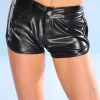 BLACK FAUX PLEATHER SIDE ZIP LACE SHORTS