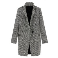 ZLYC Women's Wool Blend Textured Padded Coat with Long Notch Lapels