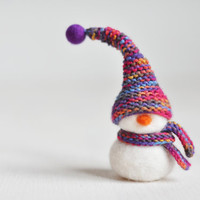 Ready to ship - Needle felted Christmas decoration - Snowman with knitted hat and scarf - Eco wool / Christmas ornament!