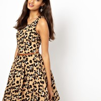 Glamorous Belted Skater Dress in Leopard