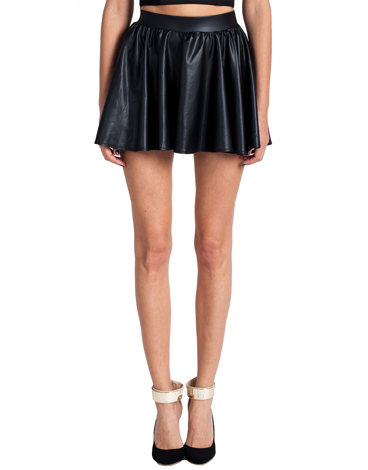 leather mini skater skirt black from 2020ave
