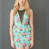Aqua Floral Mesh Cutout Peplum Dress