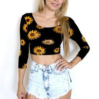 Black Sunflower Print 3/4 Sleeve Cutout Back Crop Top