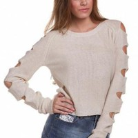 Taupe Cutout Sleeves Cropped Sweater