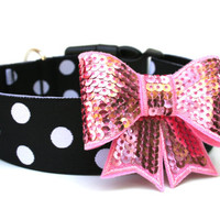 "Bow Dog Collar 1.5"" Black and White Polka Dot Dog Collar With Bow Attachment Pink Silver Black"