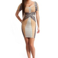 Gray, Cream and Beige Bandage Dress