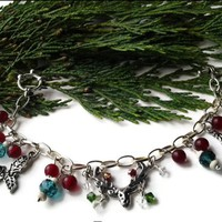 Red Candy Jade Swarovski Crystal Pewter Charms Christmas Bracelet