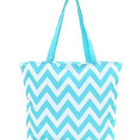 Belvah Aqua Chevron Shopping Tote Bag - 18-in