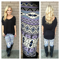 Purple & Royal Tribal Print Leggings