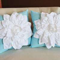 TWO Decorative Flower Pillows -White Dahlias on Robins Egg Blue Pillows 14 X 14