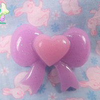 Kawaii Fairy Kei Heart Bow Hair Clip - Lavender and Pink
