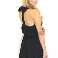 Black Double Bow Back Sleeveless Dress