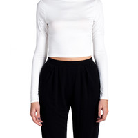 High Neck Cropped Long Sleeve - Ivory