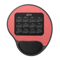 Black and Rose 2014 Calendar Gel Mouse Pad